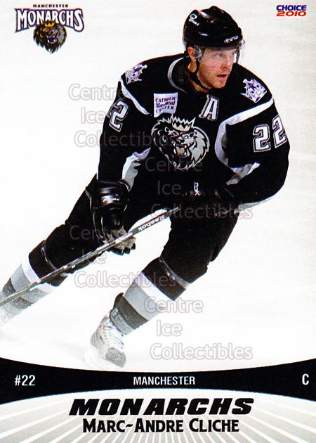 2010-11 Manchester Monarchs #3 Marc-Andre Cliche<br/>1 In Stock - $3.00 each - <a href=https://centericecollectibles.foxycart.com/cart?name=2010-11%20Manchester%20Monarchs%20%233%20Marc-Andre%20Clic...&quantity_max=1&price=$3.00&code=593314 class=foxycart> Buy it now! </a>