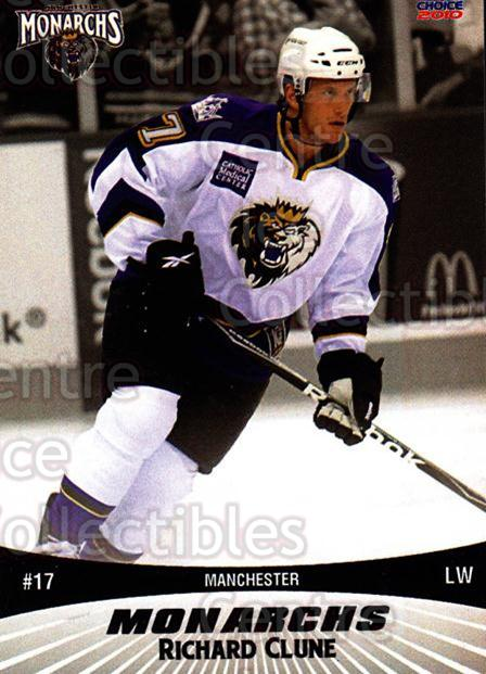 2010-11 Manchester Monarchs #4 Richard Clune<br/>1 In Stock - $3.00 each - <a href=https://centericecollectibles.foxycart.com/cart?name=2010-11%20Manchester%20Monarchs%20%234%20Richard%20Clune...&quantity_max=1&price=$3.00&code=593315 class=foxycart> Buy it now! </a>