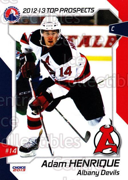 2012-13 AHL Top Prospects #8 Adam Henrique<br/>4 In Stock - $3.00 each - <a href=https://centericecollectibles.foxycart.com/cart?name=2012-13%20AHL%20Top%20Prospects%20%238%20Adam%20Henrique...&quantity_max=4&price=$3.00&code=593369 class=foxycart> Buy it now! </a>