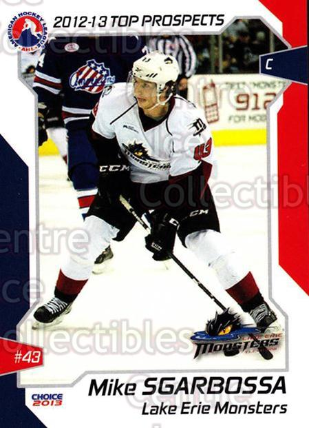 2012-13 AHL Top Prospects #27 Michael Sgarbossa<br/>2 In Stock - $3.00 each - <a href=https://centericecollectibles.foxycart.com/cart?name=2012-13%20AHL%20Top%20Prospects%20%2327%20Michael%20Sgarbos...&quantity_max=2&price=$3.00&code=593388 class=foxycart> Buy it now! </a>