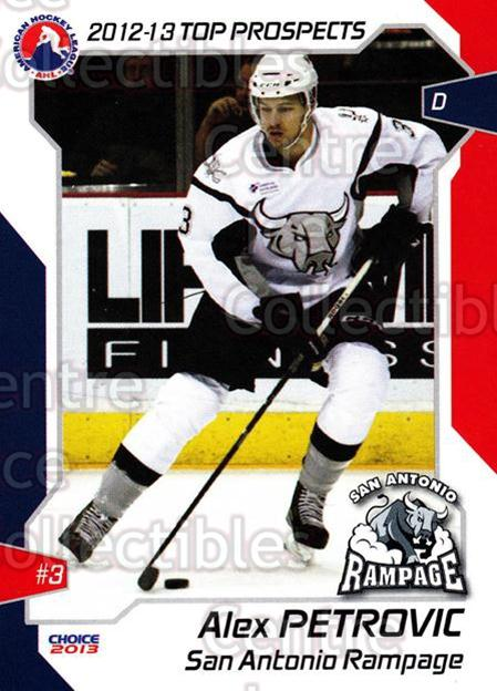 2012-13 AHL Top Prospects #55 Alex Petrovic<br/>2 In Stock - $2.00 each - <a href=https://centericecollectibles.foxycart.com/cart?name=2012-13%20AHL%20Top%20Prospects%20%2355%20Alex%20Petrovic...&price=$2.00&code=593416 class=foxycart> Buy it now! </a>