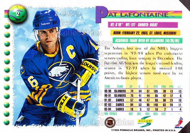 1994-95 Score Promos Samples #2 Pat LaFontaine<br/>1 In Stock - $3.00 each - <a href=https://centericecollectibles.foxycart.com/cart?name=1994-95%20Score%20Promos%20Samples%20%232%20Pat%20LaFontaine...&quantity_max=1&price=$3.00&code=594187 class=foxycart> Buy it now! </a>