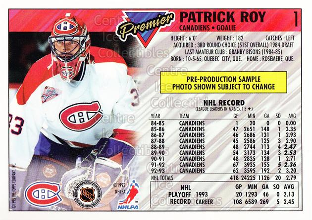1993-94 Topps Premier Promos Sample #1 Patrick Roy<br/>2 In Stock - $5.00 each - <a href=https://centericecollectibles.foxycart.com/cart?name=1993-94%20Topps%20Premier%20Promos%20Sample%20%231%20Patrick%20Roy...&quantity_max=2&price=$5.00&code=594978 class=foxycart> Buy it now! </a>