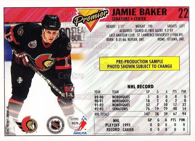 1993-94 Topps Premier Promos Sample #22 Jamie Baker<br/>14 In Stock - $3.00 each - <a href=https://centericecollectibles.foxycart.com/cart?name=1993-94%20Topps%20Premier%20Promos%20Sample%20%2322%20Jamie%20Baker...&quantity_max=14&price=$3.00&code=594980 class=foxycart> Buy it now! </a>