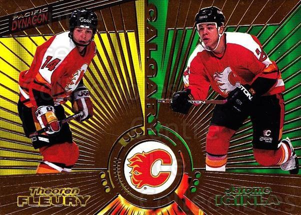 1997-98 Dynagon #137 Theo Fleury, Jarome Iginla<br/>7 In Stock - $1.00 each - <a href=https://centericecollectibles.foxycart.com/cart?name=1997-98%20Dynagon%20%23137%20Theo%20Fleury,%20Ja...&quantity_max=7&price=$1.00&code=59531 class=foxycart> Buy it now! </a>