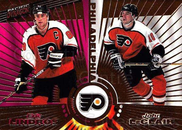 1997-98 Dynagon #141 John LeClair, Eric Lindros<br/>6 In Stock - $1.00 each - <a href=https://centericecollectibles.foxycart.com/cart?name=1997-98%20Dynagon%20%23141%20John%20LeClair,%20E...&quantity_max=6&price=$1.00&code=59533 class=foxycart> Buy it now! </a>