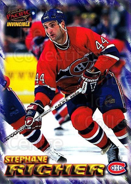 1997-98 Pacific Invincible NHL Regime #105 Stephane Richer<br/>5 In Stock - $1.00 each - <a href=https://centericecollectibles.foxycart.com/cart?name=1997-98%20Pacific%20Invincible%20NHL%20Regime%20%23105%20Stephane%20Richer...&quantity_max=5&price=$1.00&code=59924 class=foxycart> Buy it now! </a>