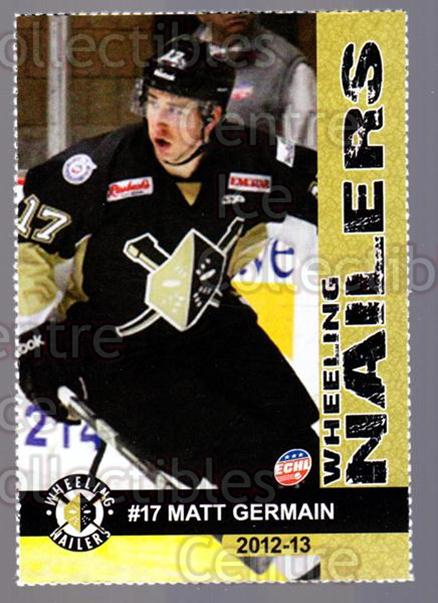 2012-13 Wheeling Nailers #9 Matt Germain<br/>4 In Stock - $3.00 each - <a href=https://centericecollectibles.foxycart.com/cart?name=2012-13%20Wheeling%20Nailers%20%239%20Matt%20Germain...&quantity_max=4&price=$3.00&code=599342 class=foxycart> Buy it now! </a>