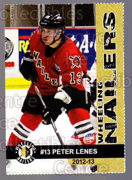 2012-13 Wheeling Nailers #12 Peter Lenes<br/>5 In Stock - $3.00 each - <a href=https://centericecollectibles.foxycart.com/cart?name=2012-13%20Wheeling%20Nailers%20%2312%20Peter%20Lenes...&quantity_max=5&price=$3.00&code=599345 class=foxycart> Buy it now! </a>
