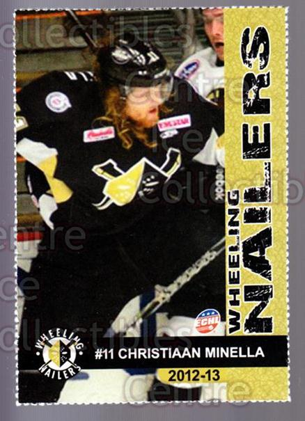 2012-13 Wheeling Nailers #16 Chris Minella<br/>5 In Stock - $3.00 each - <a href=https://centericecollectibles.foxycart.com/cart?name=2012-13%20Wheeling%20Nailers%20%2316%20Chris%20Minella...&quantity_max=5&price=$3.00&code=599349 class=foxycart> Buy it now! </a>