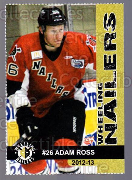 2012-13 Wheeling Nailers #18 Adam Ross<br/>5 In Stock - $3.00 each - <a href=https://centericecollectibles.foxycart.com/cart?name=2012-13%20Wheeling%20Nailers%20%2318%20Adam%20Ross...&quantity_max=5&price=$3.00&code=599351 class=foxycart> Buy it now! </a>
