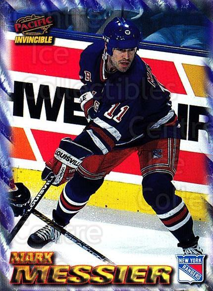 1997-98 Pacific Invincible NHL Regime #131 Mark Messier<br/>4 In Stock - $2.00 each - <a href=https://centericecollectibles.foxycart.com/cart?name=1997-98%20Pacific%20Invincible%20NHL%20Regime%20%23131%20Mark%20Messier...&quantity_max=4&price=$2.00&code=59951 class=foxycart> Buy it now! </a>