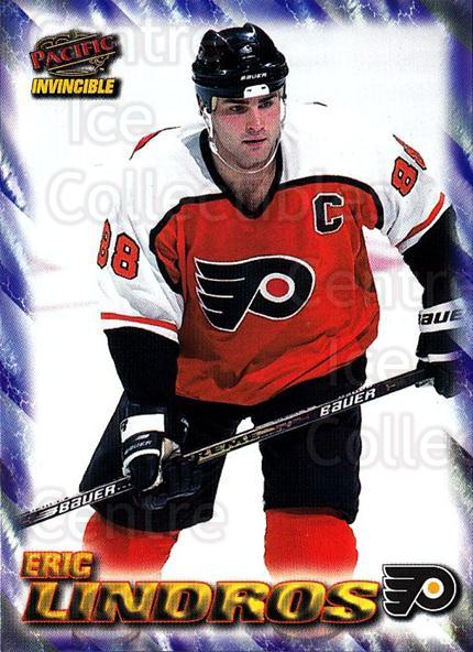 1997-98 Pacific Invincible NHL Regime #145 Eric Lindros<br/>2 In Stock - $2.00 each - <a href=https://centericecollectibles.foxycart.com/cart?name=1997-98%20Pacific%20Invincible%20NHL%20Regime%20%23145%20Eric%20Lindros...&quantity_max=2&price=$2.00&code=59964 class=foxycart> Buy it now! </a>