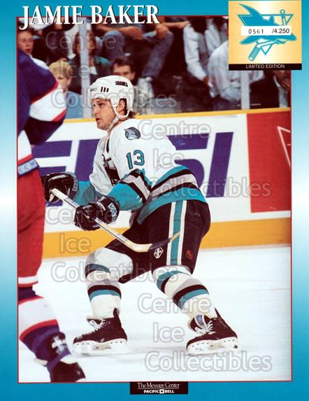 1994-95 San Jose Sharks Line-Up Cards #1 Jamie Baker<br/>1 In Stock - $10.00 each - <a href=https://centericecollectibles.foxycart.com/cart?name=1994-95%20San%20Jose%20Sharks%20Line-Up%20Cards%20%231%20Jamie%20Baker...&quantity_max=1&price=$10.00&code=599857 class=foxycart> Buy it now! </a>