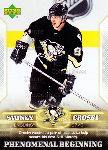 2005-06 UD Sidney Crosby Phenomenal Beginning Silver #6 Sidney Crosby<br/>3 In Stock - $3.00 each - <a href=https://centericecollectibles.foxycart.com/cart?name=2005-06%20UD%20Sidney%20Crosby%20Phenomenal%20Beginning%20Silver%20%236%20Sidney%20Crosby...&quantity_max=3&price=$3.00&code=600027 class=foxycart> Buy it now! </a>