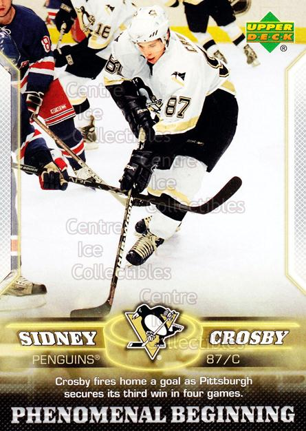 2005-06 UD Sidney Crosby Phenomenal Beginning Silver #8 Sidney Crosby<br/>3 In Stock - $3.00 each - <a href=https://centericecollectibles.foxycart.com/cart?name=2005-06%20UD%20Sidney%20Crosby%20Phenomenal%20Beginning%20Silver%20%238%20Sidney%20Crosby...&quantity_max=3&price=$3.00&code=600029 class=foxycart> Buy it now! </a>
