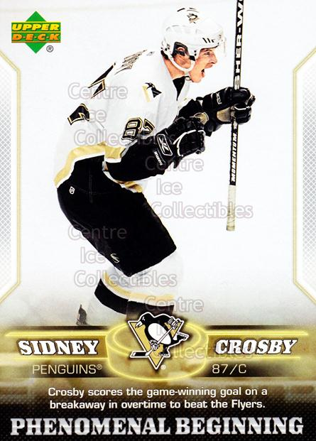 2005-06 UD Sidney Crosby Phenomenal Beginning Silver #10 Sidney Crosby<br/>4 In Stock - $3.00 each - <a href=https://centericecollectibles.foxycart.com/cart?name=2005-06%20UD%20Sidney%20Crosby%20Phenomenal%20Beginning%20Silver%20%2310%20Sidney%20Crosby...&quantity_max=4&price=$3.00&code=600031 class=foxycart> Buy it now! </a>