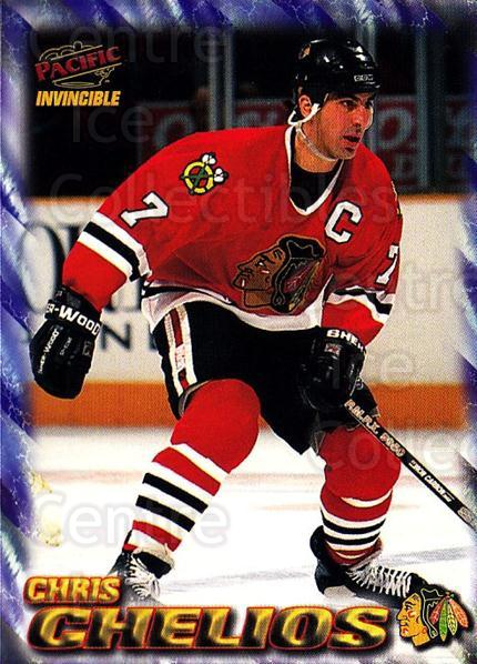 1997-98 Pacific Invincible NHL Regime #42 Chris Chelios<br/>2 In Stock - $1.00 each - <a href=https://centericecollectibles.foxycart.com/cart?name=1997-98%20Pacific%20Invincible%20NHL%20Regime%20%2342%20Chris%20Chelios...&quantity_max=2&price=$1.00&code=60053 class=foxycart> Buy it now! </a>