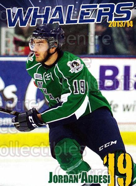 2013-14 Plymouth Whalers #1 Jordan Addesi<br/>6 In Stock - $3.00 each - <a href=https://centericecollectibles.foxycart.com/cart?name=2013-14%20Plymouth%20Whalers%20%231%20Jordan%20Addesi...&quantity_max=6&price=$3.00&code=600827 class=foxycart> Buy it now! </a>
