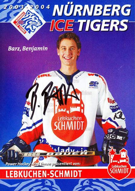 2003-04 German Nurnberg Ice Tigers Postcards #2 Benjamin Barz<br/>2 In Stock - $3.00 each - <a href=https://centericecollectibles.foxycart.com/cart?name=2003-04%20German%20Nurnberg%20Ice%20Tigers%20Postcards%20%232%20Benjamin%20Barz...&quantity_max=2&price=$3.00&code=601018 class=foxycart> Buy it now! </a>