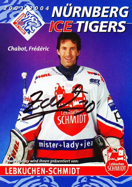 2003-04 German Nurnberg Ice Tigers Postcards #3 Frederic Chabot<br/>1 In Stock - $3.00 each - <a href=https://centericecollectibles.foxycart.com/cart?name=2003-04%20German%20Nurnberg%20Ice%20Tigers%20Postcards%20%233%20Frederic%20Chabot...&quantity_max=1&price=$3.00&code=601019 class=foxycart> Buy it now! </a>