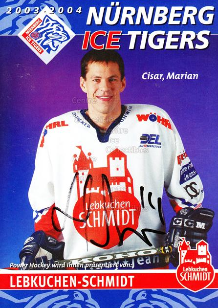 2003-04 German Nuermberg Ice Tigers Postcards #4 Marian Cisar<br/>1 In Stock - $3.00 each - <a href=https://centericecollectibles.foxycart.com/cart?name=2003-04%20German%20Nuermberg%20Ice%20Tigers%20Postcards%20%234%20Marian%20Cisar...&price=$3.00&code=601020 class=foxycart> Buy it now! </a>