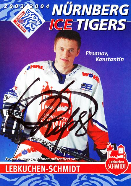 2003-04 German Nurnberg Ice Tigers Postcards #7 Konstantin Firsanov<br/>1 In Stock - $3.00 each - <a href=https://centericecollectibles.foxycart.com/cart?name=2003-04%20German%20Nurnberg%20Ice%20Tigers%20Postcards%20%237%20Konstantin%20Firs...&quantity_max=1&price=$3.00&code=601023 class=foxycart> Buy it now! </a>