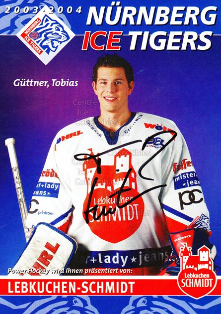 2003-04 German Nuermberg Ice Tigers Postcards #9 Tobias Guttner<br/>1 In Stock - $3.00 each - <a href=https://centericecollectibles.foxycart.com/cart?name=2003-04%20German%20Nuermberg%20Ice%20Tigers%20Postcards%20%239%20Tobias%20Guttner...&price=$3.00&code=601025 class=foxycart> Buy it now! </a>