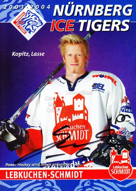 2003-04 German Nurnberg Ice Tigers Postcards #10 Lasse Kopitz<br/>2 In Stock - $3.00 each - <a href=https://centericecollectibles.foxycart.com/cart?name=2003-04%20German%20Nurnberg%20Ice%20Tigers%20Postcards%20%2310%20Lasse%20Kopitz...&quantity_max=2&price=$3.00&code=601026 class=foxycart> Buy it now! </a>