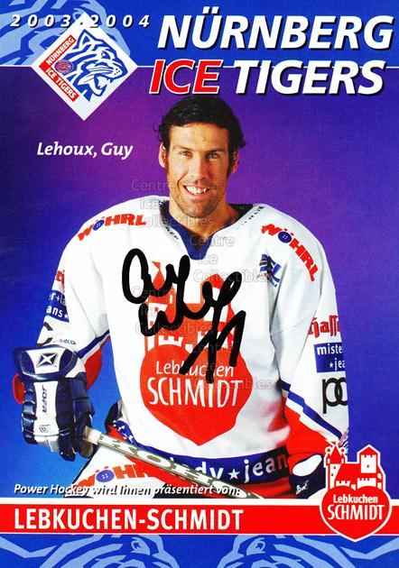 2003-04 German Nurnberg Ice Tigers Postcards #13 Guy Lehoux<br/>1 In Stock - $3.00 each - <a href=https://centericecollectibles.foxycart.com/cart?name=2003-04%20German%20Nurnberg%20Ice%20Tigers%20Postcards%20%2313%20Guy%20Lehoux...&quantity_max=1&price=$3.00&code=601029 class=foxycart> Buy it now! </a>