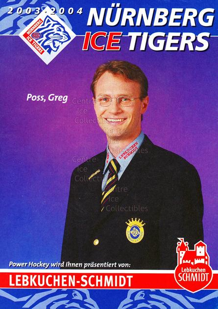 2003-04 German Nuermberg Ice Tigers Postcards #17 Greg Poss<br/>1 In Stock - $3.00 each - <a href=https://centericecollectibles.foxycart.com/cart?name=2003-04%20German%20Nuermberg%20Ice%20Tigers%20Postcards%20%2317%20Greg%20Poss...&price=$3.00&code=601033 class=foxycart> Buy it now! </a>