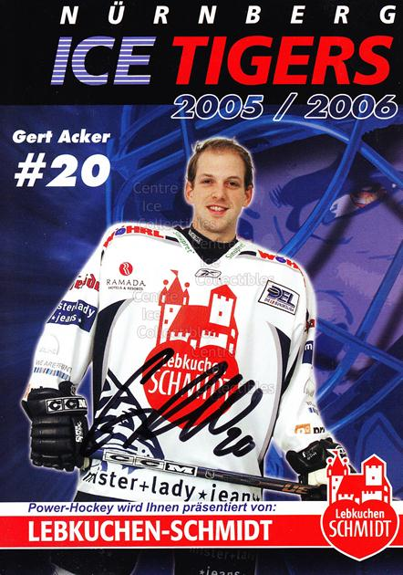 2005-06 German Nurnberg Ice Tigers Postcards #1 Gert Acker<br/>1 In Stock - $3.00 each - <a href=https://centericecollectibles.foxycart.com/cart?name=2005-06%20German%20Nurnberg%20Ice%20Tigers%20Postcards%20%231%20Gert%20Acker...&quantity_max=1&price=$3.00&code=601038 class=foxycart> Buy it now! </a>