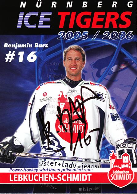 2005-06 German Nuermberg Ice Tigers Postcards #2 Benjamin Barz<br/>1 In Stock - $3.00 each - <a href=https://centericecollectibles.foxycart.com/cart?name=2005-06%20German%20Nuermberg%20Ice%20Tigers%20Postcards%20%232%20Benjamin%20Barz...&price=$3.00&code=601039 class=foxycart> Buy it now! </a>