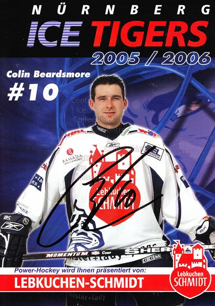 2005-06 German Nuermberg Ice Tigers Postcards #3 Colin Beardsmore<br/>1 In Stock - $3.00 each - <a href=https://centericecollectibles.foxycart.com/cart?name=2005-06%20German%20Nuermberg%20Ice%20Tigers%20Postcards%20%233%20Colin%20Beardsmor...&price=$3.00&code=601040 class=foxycart> Buy it now! </a>
