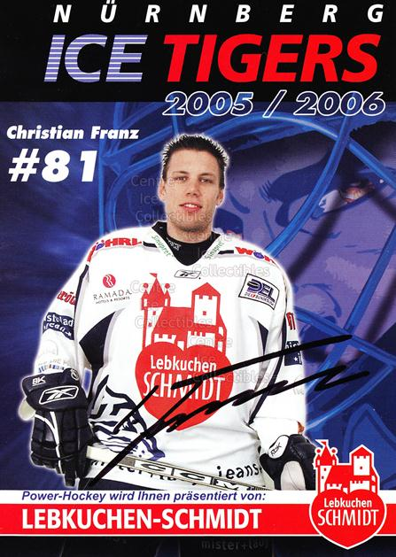 2005-06 German Nuermberg Ice Tigers Postcards #8 Christian Franz<br/>1 In Stock - $3.00 each - <a href=https://centericecollectibles.foxycart.com/cart?name=2005-06%20German%20Nuermberg%20Ice%20Tigers%20Postcards%20%238%20Christian%20Franz...&price=$3.00&code=601045 class=foxycart> Buy it now! </a>