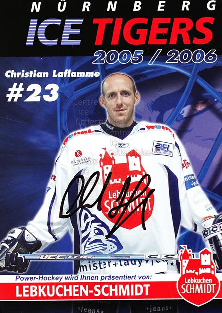 2005-06 German Nuermberg Ice Tigers Postcards #10 Christian Laflamme<br/>1 In Stock - $3.00 each - <a href=https://centericecollectibles.foxycart.com/cart?name=2005-06%20German%20Nuermberg%20Ice%20Tigers%20Postcards%20%2310%20Christian%20Lafla...&price=$3.00&code=601047 class=foxycart> Buy it now! </a>