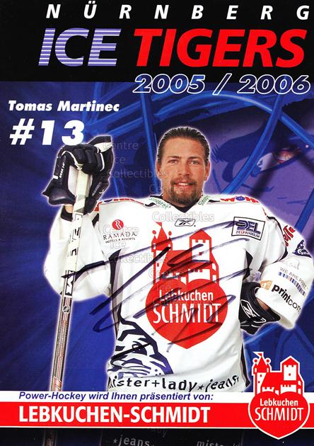 2005-06 German Nuermberg Ice Tigers Postcards #14 Tomas Martinec<br/>1 In Stock - $3.00 each - <a href=https://centericecollectibles.foxycart.com/cart?name=2005-06%20German%20Nuermberg%20Ice%20Tigers%20Postcards%20%2314%20Tomas%20Martinec...&price=$3.00&code=601051 class=foxycart> Buy it now! </a>
