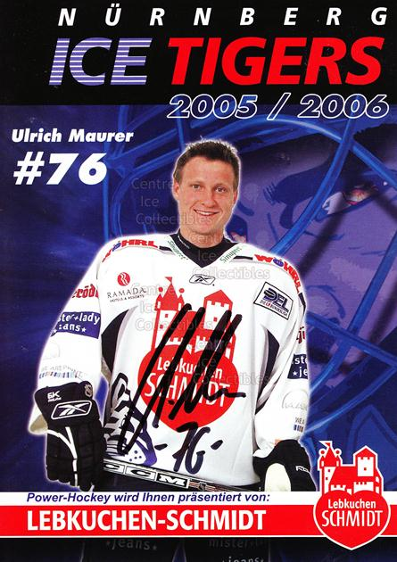 2005-06 German Nuermberg Ice Tigers Postcards #15 Ulrich Maurer<br/>1 In Stock - $3.00 each - <a href=https://centericecollectibles.foxycart.com/cart?name=2005-06%20German%20Nuermberg%20Ice%20Tigers%20Postcards%20%2315%20Ulrich%20Maurer...&price=$3.00&code=601052 class=foxycart> Buy it now! </a>