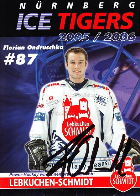 2005-06 German Nuermberg Ice Tigers Postcards #17 Florian Ondruschka<br/>1 In Stock - $3.00 each - <a href=https://centericecollectibles.foxycart.com/cart?name=2005-06%20German%20Nuermberg%20Ice%20Tigers%20Postcards%20%2317%20Florian%20Ondrusc...&price=$3.00&code=601054 class=foxycart> Buy it now! </a>