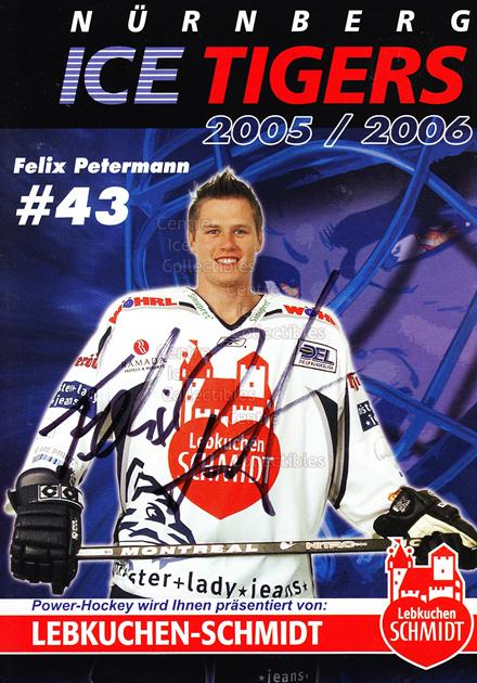 2005-06 German Nuermberg Ice Tigers Postcards #19 Felix Petermann<br/>1 In Stock - $3.00 each - <a href=https://centericecollectibles.foxycart.com/cart?name=2005-06%20German%20Nuermberg%20Ice%20Tigers%20Postcards%20%2319%20Felix%20Petermann...&price=$3.00&code=601056 class=foxycart> Buy it now! </a>