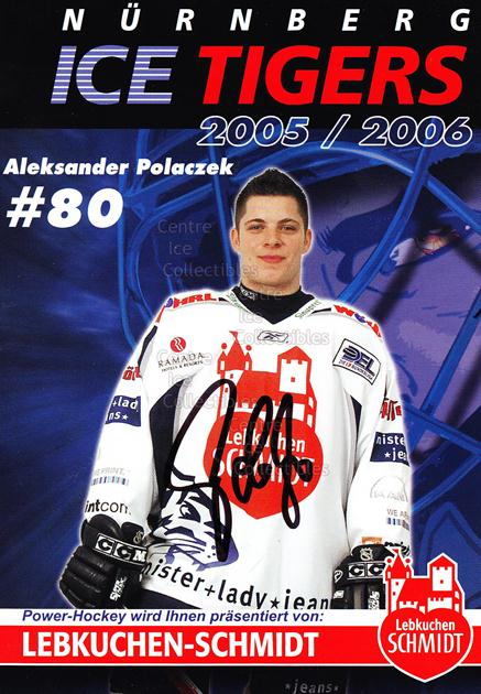 2005-06 German Nuermberg Ice Tigers Postcards #20 Aleksander Polaczek<br/>1 In Stock - $3.00 each - <a href=https://centericecollectibles.foxycart.com/cart?name=2005-06%20German%20Nuermberg%20Ice%20Tigers%20Postcards%20%2320%20Aleksander%20Pola...&price=$3.00&code=601057 class=foxycart> Buy it now! </a>