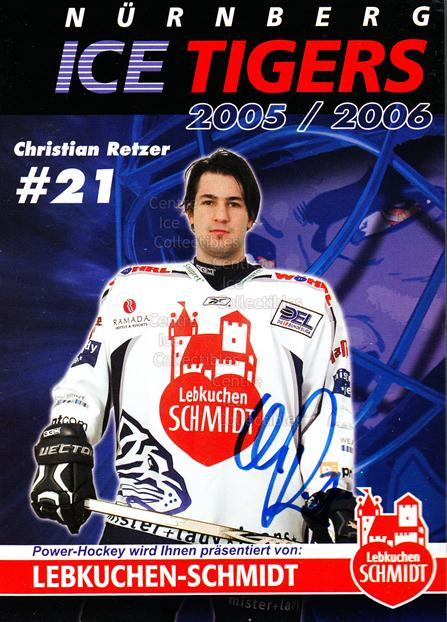 2005-06 German Nuermberg Ice Tigers Postcards #22 Christian Retzer<br/>1 In Stock - $3.00 each - <a href=https://centericecollectibles.foxycart.com/cart?name=2005-06%20German%20Nuermberg%20Ice%20Tigers%20Postcards%20%2322%20Christian%20Retze...&price=$3.00&code=601059 class=foxycart> Buy it now! </a>
