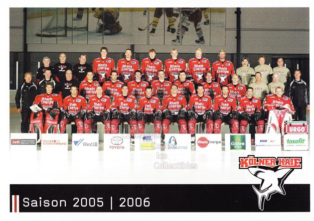 2005-06 German Cologne Sharks Postcards #28 Team Photo<br/>1 In Stock - $3.00 each - <a href=https://centericecollectibles.foxycart.com/cart?name=2005-06%20German%20Cologne%20Sharks%20Postcards%20%2328%20Team%20Photo...&price=$3.00&code=601114 class=foxycart> Buy it now! </a>