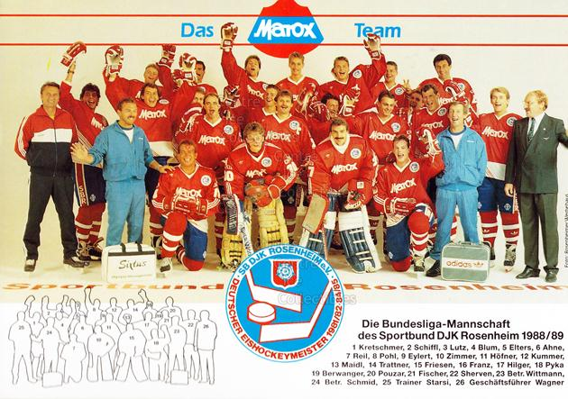 1988-89 German SB DJK Rosenheim Postcards #23 Team Photo<br/>1 In Stock - $3.00 each - <a href=https://centericecollectibles.foxycart.com/cart?name=1988-89%20German%20SB%20DJK%20Rosenheim%20Postcards%20%2323%20Team%20Photo...&price=$3.00&code=601137 class=foxycart> Buy it now! </a>
