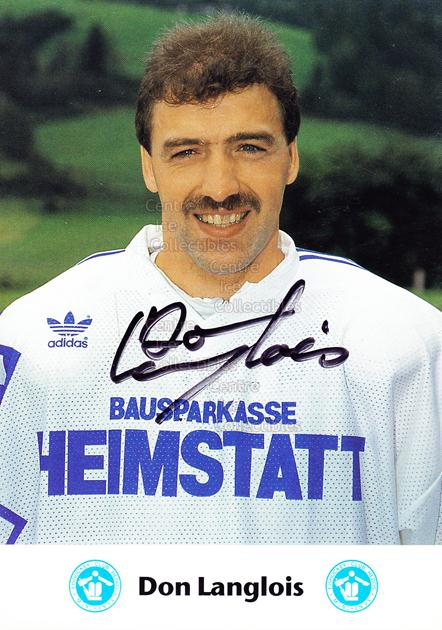 1991-92 German EC Hedos Munchen Postcards #12 Don Langlois<br/>1 In Stock - $3.00 each - <a href=https://centericecollectibles.foxycart.com/cart?name=1991-92%20German%20EC%20Hedos%20Munchen%20Postcards%20%2312%20Don%20Langlois...&quantity_max=1&price=$3.00&code=601149 class=foxycart> Buy it now! </a>