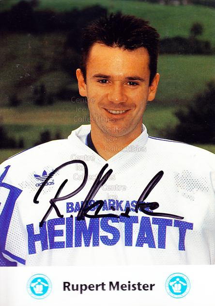 1991-92 German EC Hedos Munchen Postcards #15 Rupert Meister<br/>1 In Stock - $3.00 each - <a href=https://centericecollectibles.foxycart.com/cart?name=1991-92%20German%20EC%20Hedos%20Munchen%20Postcards%20%2315%20Rupert%20Meister...&quantity_max=1&price=$3.00&code=601152 class=foxycart> Buy it now! </a>