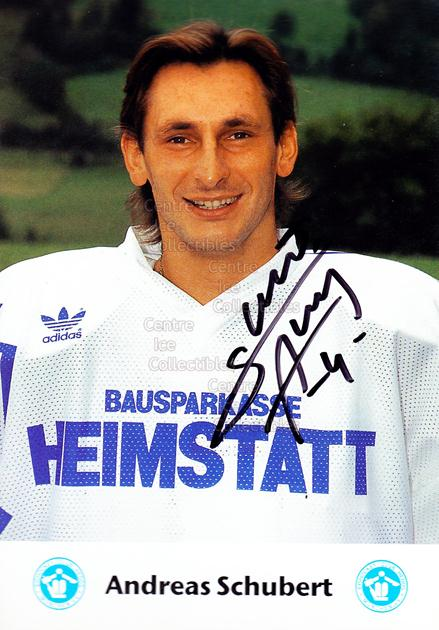 1991-92 German EC Hedos Munchen Postcards #18 Andreas Schubert<br/>1 In Stock - $3.00 each - <a href=https://centericecollectibles.foxycart.com/cart?name=1991-92%20German%20EC%20Hedos%20Munchen%20Postcards%20%2318%20Andreas%20Schuber...&quantity_max=1&price=$3.00&code=601155 class=foxycart> Buy it now! </a>