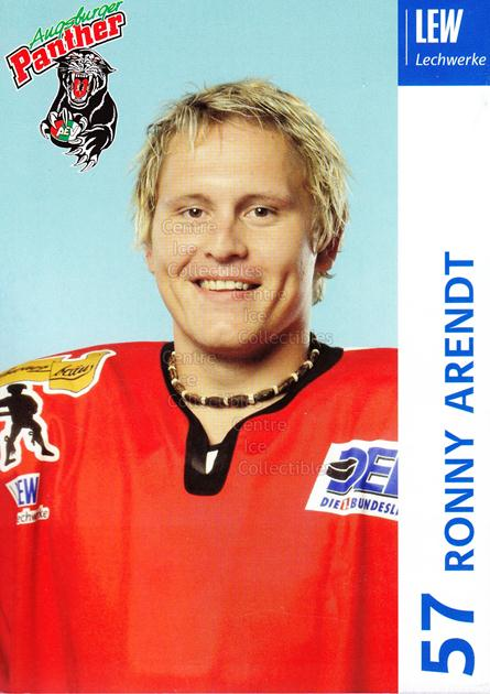2003-04 German Augsburg Panthers Postcards #2 Ronny Arendt<br/>1 In Stock - $3.00 each - <a href=https://centericecollectibles.foxycart.com/cart?name=2003-04%20German%20Augsburg%20Panthers%20Postcards%20%232%20Ronny%20Arendt...&quantity_max=1&price=$3.00&code=601318 class=foxycart> Buy it now! </a>