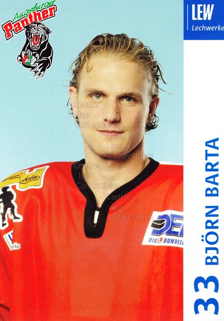 2003-04 German Augsburg Panthers Postcards #3 Bjorn Barta<br/>1 In Stock - $3.00 each - <a href=https://centericecollectibles.foxycart.com/cart?name=2003-04%20German%20Augsburg%20Panthers%20Postcards%20%233%20Bjorn%20Barta...&quantity_max=1&price=$3.00&code=601319 class=foxycart> Buy it now! </a>