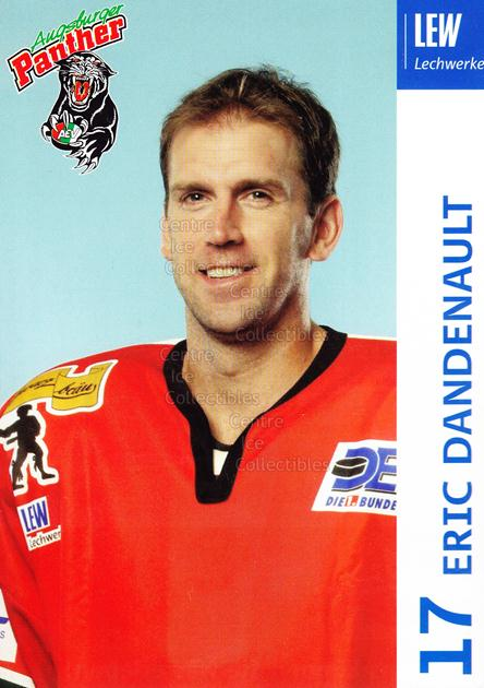 2003-04 German Augsburg Panthers Postcards #6 Eric Dandenault<br/>1 In Stock - $3.00 each - <a href=https://centericecollectibles.foxycart.com/cart?name=2003-04%20German%20Augsburg%20Panthers%20Postcards%20%236%20Eric%20Dandenault...&quantity_max=1&price=$3.00&code=601322 class=foxycart> Buy it now! </a>